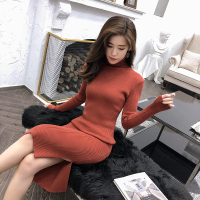 Maxi Sweater Dress Bodycon Long Sleeve Office Elegant Sexy Dress Long Turtleneck Women Knitted Dress Robe Runway Fashion
