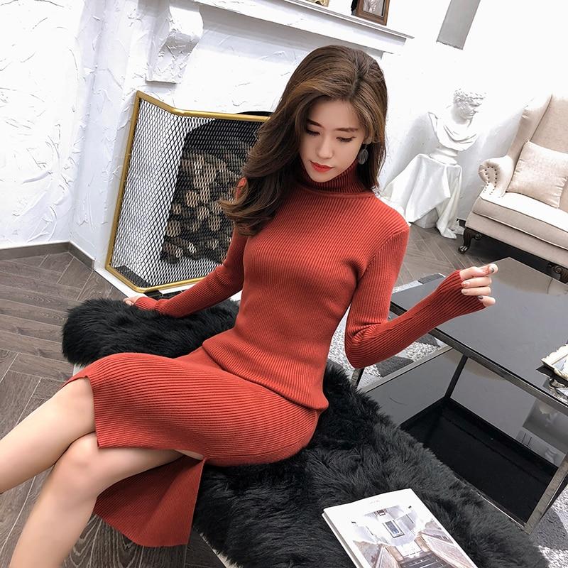 Maxi Sweater Dress Bodycon Long Sleeve Office Elegant Sexy Dress Long Turtleneck Women Knitted Dress Robe Runway Fashion