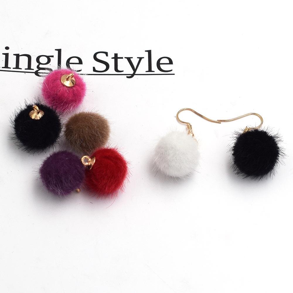 20 штук смешанные Цвет искусственный Мех животных мяч для изготовления ювелирных изделий DIY Цепочки и ожерелья серьги кулон Цвет смешивания оптовая продажа