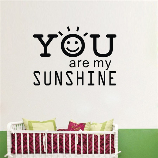 Kawai Baay Wall Decals Quotes You Are My Sunshine Decoratival Vinyl 3D Wall  Stickers for Kids