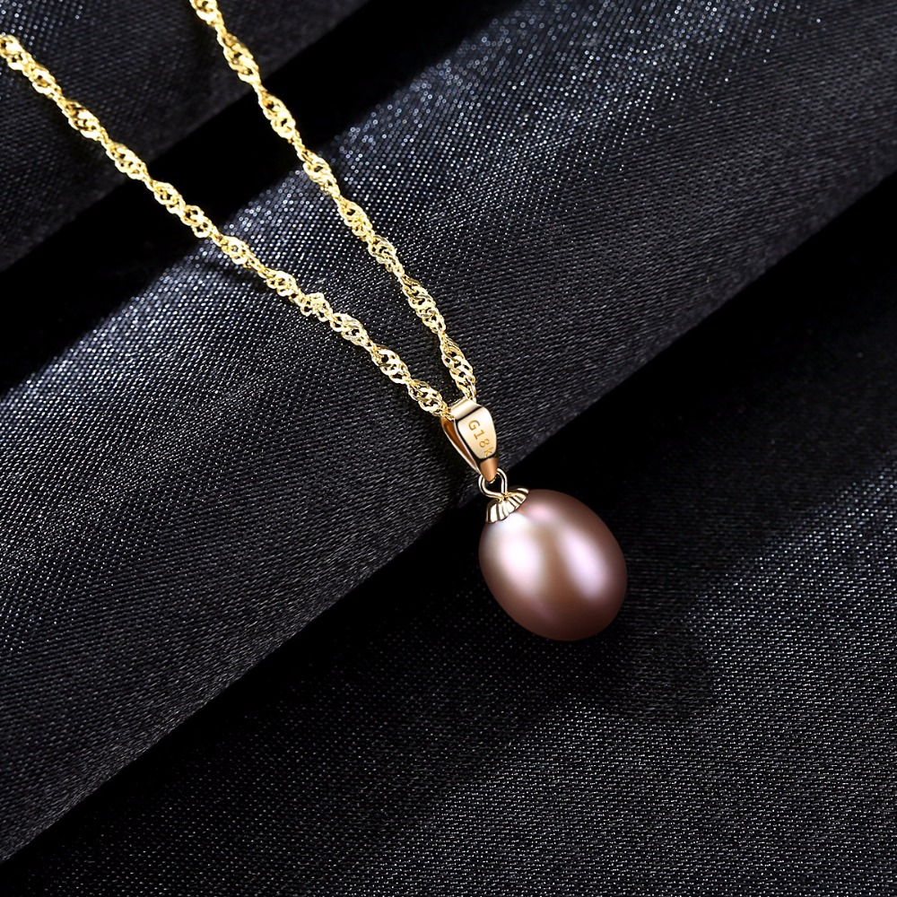 High quality products czcity 18k yellow gold pendant six colors natural freshwater pearl pendant free 925 water wave necklace aloadofball Gallery