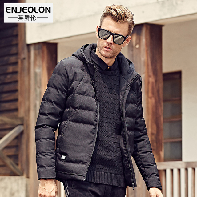 Enjeolon Марка Топ 2017 зимняя хлопковая стеганая куртка с капюшоном, черный Водонепроницаемый парка, толстый стеганый Для мужчин повседневная Пальто и пуховики WT0262