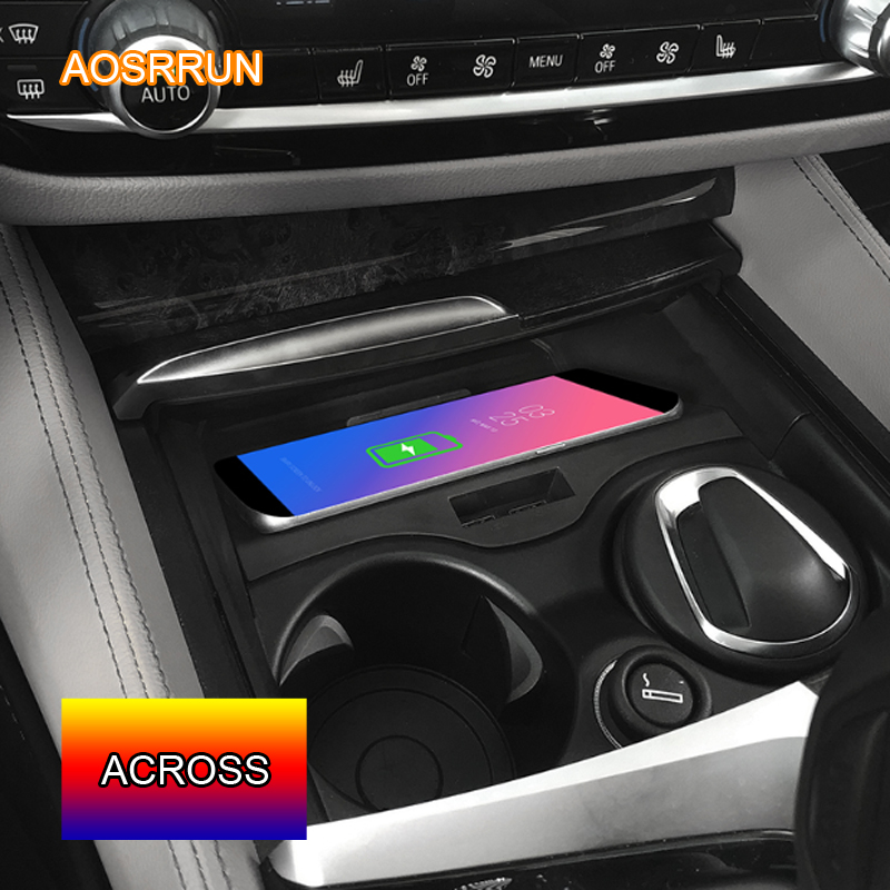 AOSRRUN Car Mobile phone QI wireless charging Pad Module Car Accessories For <font><b>BMW</b></font> <font><b>G30</b></font> <font><b>530i</b></font> 530d 520i 540i 2018 2019 image