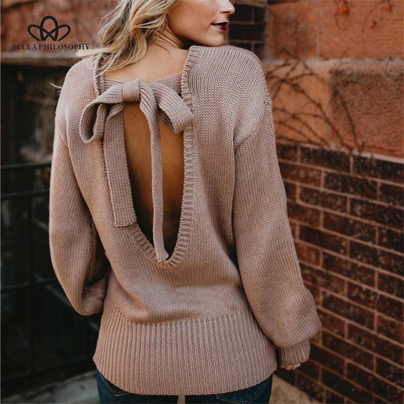 2018New European Winter clothes  American foreign trade sweater female sexy bow tie laced sweater backless knitting frenulum