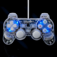 Wired USB Gamepad Double Vibration Controller Game Joystick Joypad Transparent LED For PC Laptop For Win10/XP Clear wired usb vibration gamepad joystick game pad multifunctional controller for pc laptop computer for win xp for vista for tv box