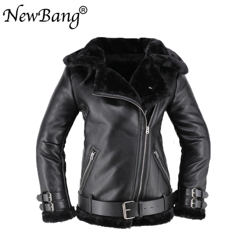 Women Rabbit Fur Faux   Leather   Jacket Berber Patchwork Short   Suede   Shearling Overcoat Zipper Vintage Motorcycle Jackets With Belt