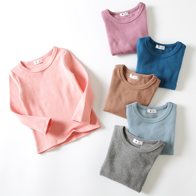 7b3ffc3e1 Girls Long Sleeve Tops Candy Colors Cotton Kids Clothes Autumn Winter  Casual Girls Clothing Girls T