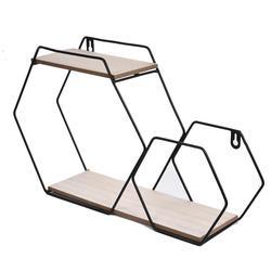 Hexagonal rack de ferro forjado grade combinação prateleira parede pendurado sala armazenamento geométrico decoração da parede rack