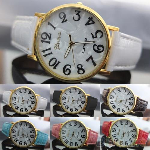 Men's Women's Geneva Shell Face Style Faux Leather Analog Quartz Wrist Watch  941F