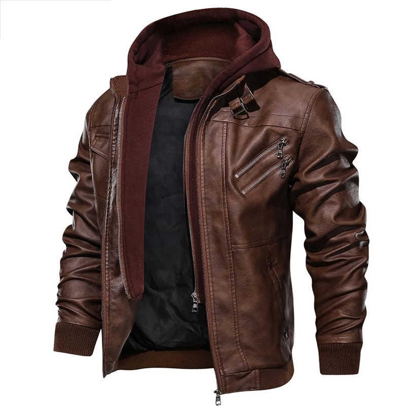 新秋冬オートバイの革のジャケット男性ウインドブレーカーフード付き PU ジャケット男性生き抜く暖かい PU 野球ジャケットサイズ S-4XL