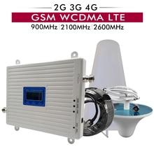 Tri bant güçlendirici 2G/3G GSM 900 + 3G UMTS/WCDMA 2100 + 4G FDD LTE 2600 cep telefon sinyal tekrarlayıcı cep sinyal amplifikatörü anten seti