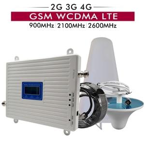 Image 1 - Tri bant güçlendirici 2G/3G GSM 900 + 3G UMTS/WCDMA 2100 + 4G FDD LTE 2600 cep telefon sinyal tekrarlayıcı cep sinyal amplifikatörü anten seti