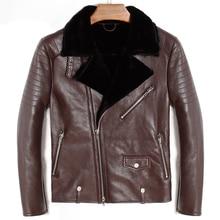 Бесплатная доставка, овчина, модная шерстяная овечья шерсть, Мужская теплая кожаная куртка, мужское меховое зимнее пальто. Большие размеры, черные куртки. распродажа
