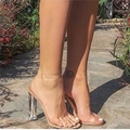 2017 Женщин Сандалии Лодыжки Ремень Высокие Каблуки ПВХ Прозрачный Кристалл Знаменитости Ношение Пряжка Ремень Высокое Качество Мода Обувь Женщина