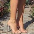2017 de Las Mujeres Sandalias con Cierre de tiras Tacones Altos PVC Clear Crystal Celebrity Vistiendo Hebilla de Correa de Moda de Alta Calidad Zapatos de Mujer