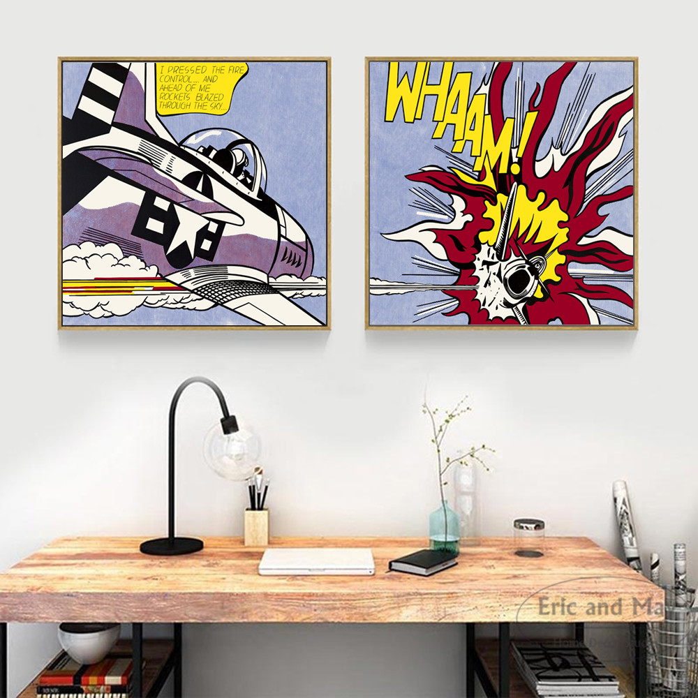 Comic Wall Decor Whaam Comic Pop Art Cotton Canvas Art Print Painting Poster Wall Pictures For Living Room Bedroom Decorative Home Decor No Frame