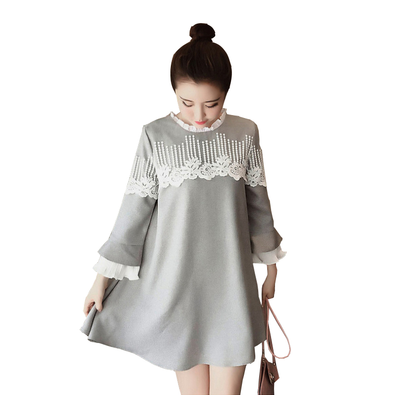 Pregnant Women Lace Splicing Dress Ruffle Collar Patchwork Maternity Dresses Summer Spring Pregnancy Clothes Gray Navy Blue In Dresses From Mother