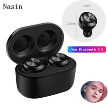 Nasin A6 TWS 5.0 Mini True Wireless Earbuds Bluetooth Earphone Headset With Mic Charging Box  For iPhone Xiaomi Samsung ogv tws bluetooth v5 0 eaphone earbuds sports stereo music headset headphoe white mic charging box for apple iphone xiaomi