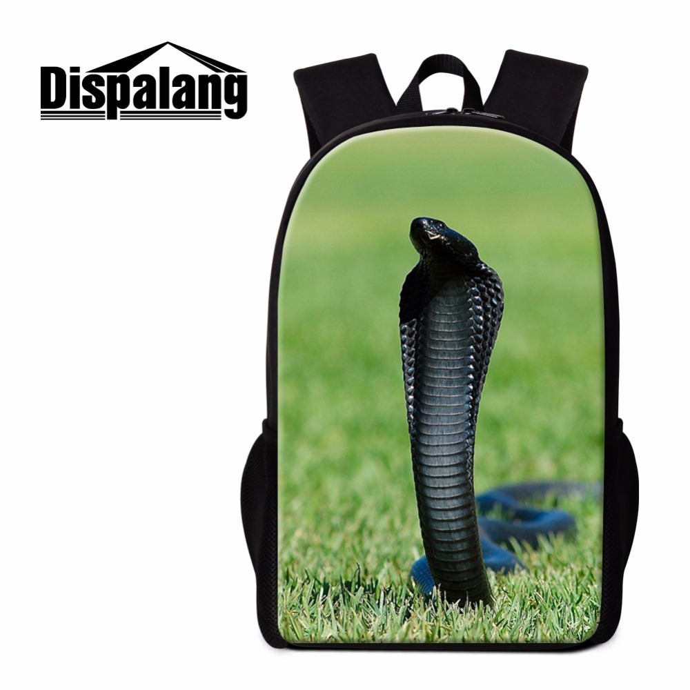Dispalang Snake School Backpack Cool Rucksack for Boys Personalized Bookbag Pattern Lightweight Bagpack Day Pack for Girl Travel