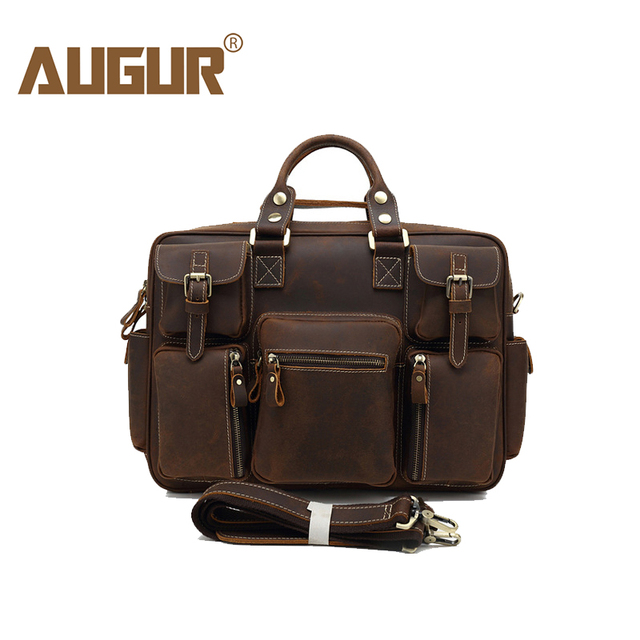 AUGUR Multi Pocket Handbags Vintage Crazy Horse Genuine Leather Shoulder Bag  For Men Briefcase Tote Bag 9638  edfe55b51ad55