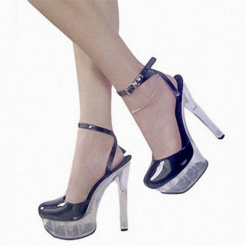 Новые сандалии со стразами в магазине на высоком каблуке 15 см были рекомендованы владельцем магазина для модных женских сценических сандал... - 5