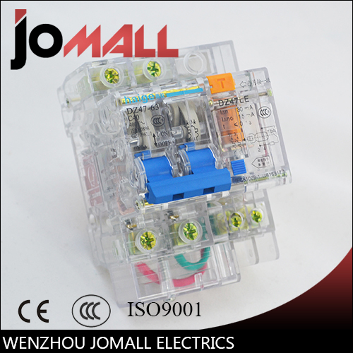 high quality 10A 16A 20A 25A 32A 40A 50A 63A 2 pole transparent residual current earth leakage circuit breaker ELCB RCBO dz47 63 dz47le 32a 400vac 6000a 3 pole mini elcb earth leakage circuit breaker