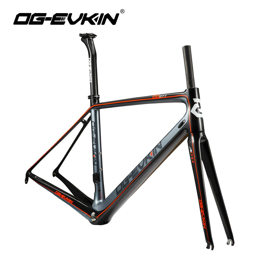 OG-EVKIN CF-016 Super Light Carbon Fiber Road Bike Frame 700C Carbon Bicycle Frame 3K Glossy BSA DI2 Road Bike Frameset