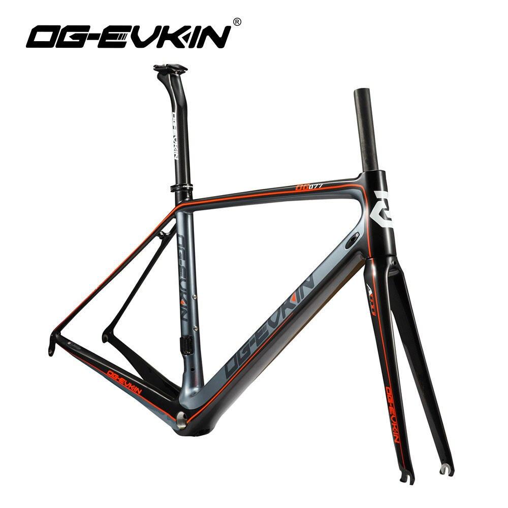 OG-EVKIN CF-016 Super Light Carbon Fiber Road Bike Frame 700C Carbon Bicycle Frame 3K Glossy BSA DI2 Road Bike Frameset