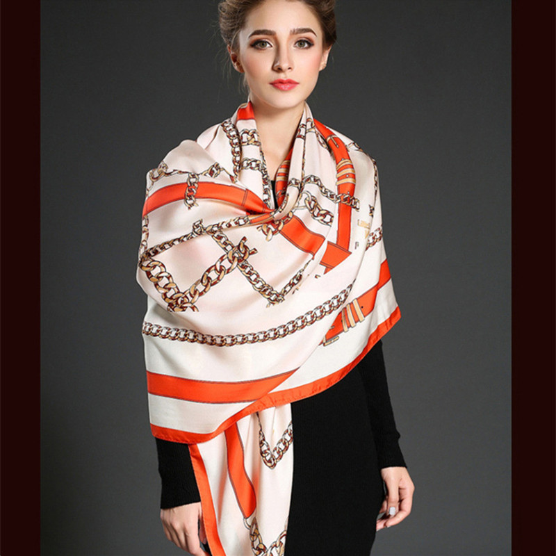 Twill Silk Women Scarf 130*130 Geometric British Style Belt Print Square Scarves Wraps Brand Gift Fashion Large Silk Shawls