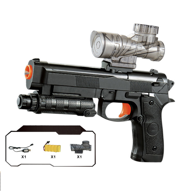 Gun M92 Electric Repeating Crystal Bullet Toy Gun Giving Water Bullets Desert Eagle Battlefield Hero Guns USB Charging Boy Gift