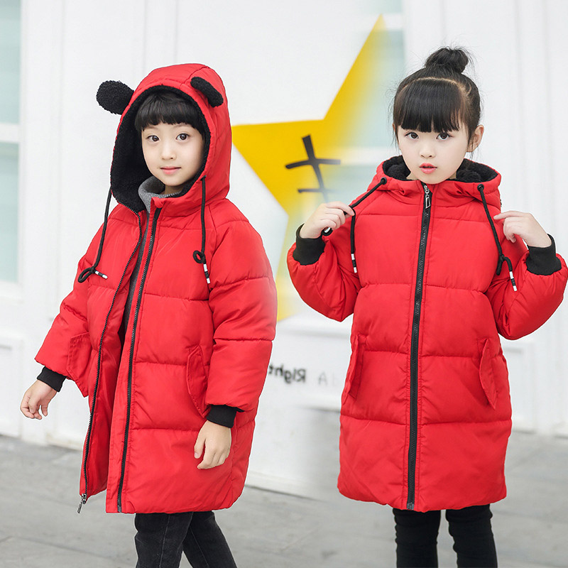 Children Winter Cotton Padded Jackets Kids Warm Coats for Girls Baby Boy Hooded Long Jacket Thick Parkas Clothes 2-8 Years