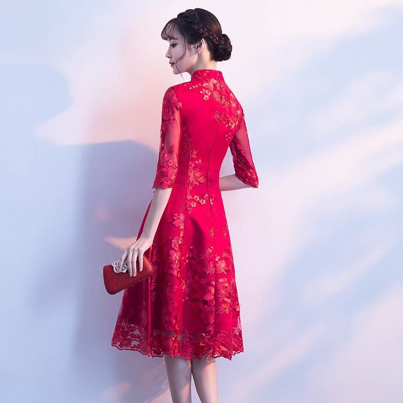 ba2314800 Aliexpress.com : Buy Red Modern Cheongsam Sexy Short Qipao Dress Oriental  Style Dresses Traditional Chinese Clothing For Women Bride Traditions from  ...