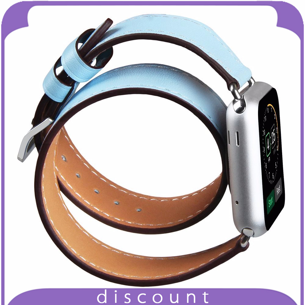 38mm 42mm Genuine Leather Smart Watch Band Double Loop Strap Bracelet with Adapter Clasp for Apple