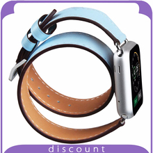 38mm 42mm Genuine Leather Smart Watch Band Double Loop Strap Bracelet with Adapter Clasp for Apple Watch double tour-Light Blue