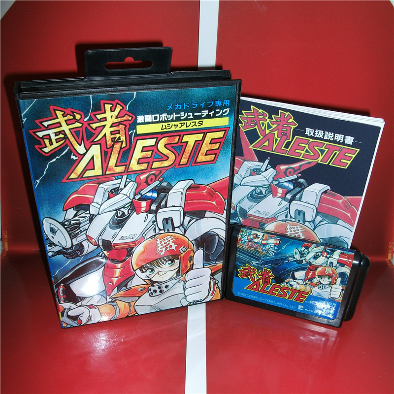 MD games card - Aleste Japan Cover with Box and Manual for MD MegaDrive Genesis Video Game Console 16 bit MD card miss 6700 md 26 16