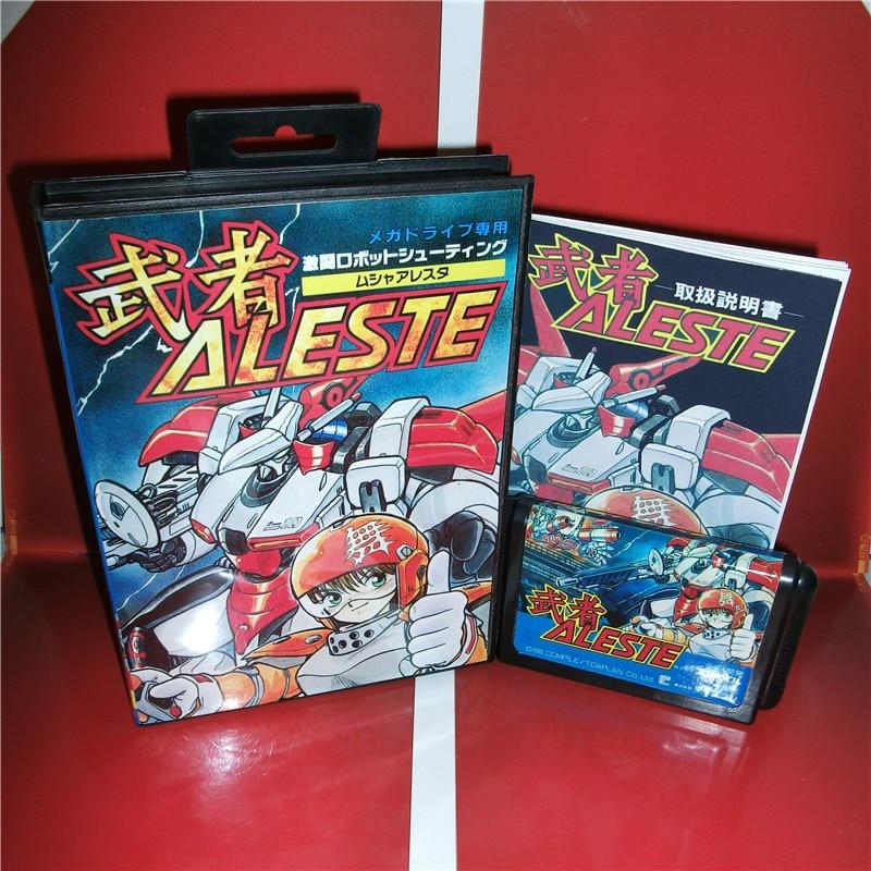 Md-spielkarte-Aleste Japan Abdeckung mit Kasten und Handbuch für MD MegaDrive Genesis Videospielkonsole 16 bit md-karte