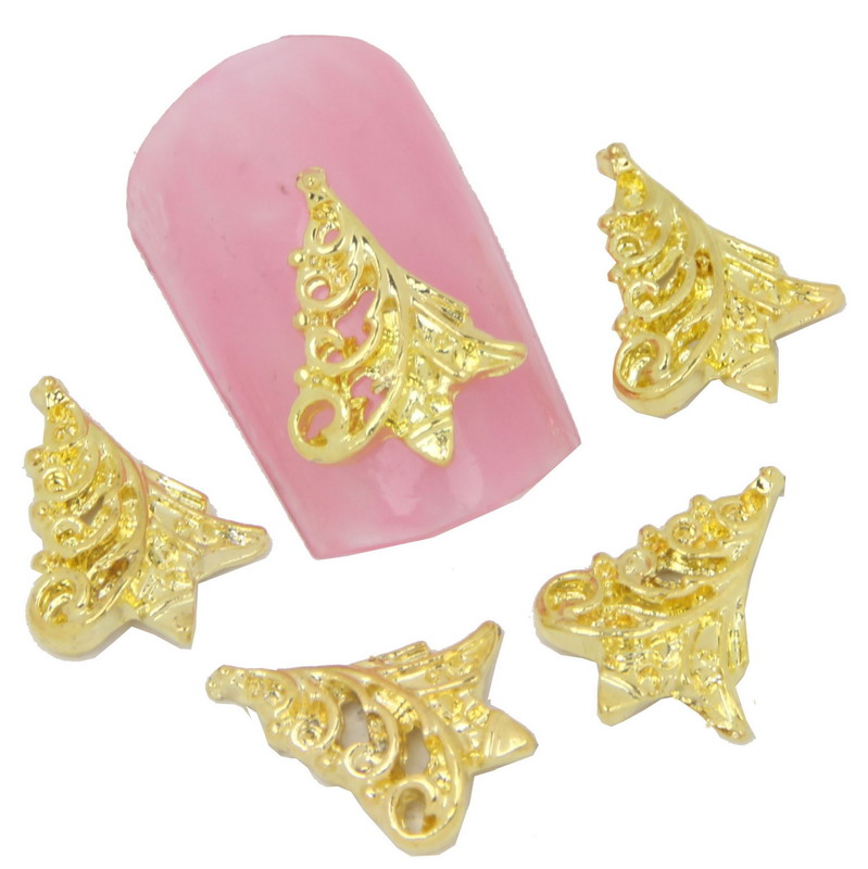10Pcs Lot Christmas Tree Shape Alloy Nail Sticker Decals Gold Plated Tree Nail  DIY 3D Alloy Art Decorations For Make Up MA0180 0559a6cd89f5