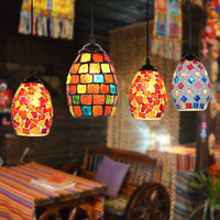 Creative Mosaic Glass E27 Pendant Lamp Retro Bohemian Specialties Mysterious Pendant Light For Hotel Restaurant Bar Cafe Church