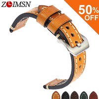 ZLIMSN New Vintage Genuine Leather Watch Bands Strap For Panerai 20mm 22mm 24mm 26mm Men S
