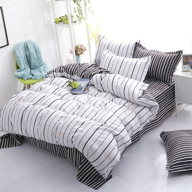 Home Textile Plaid Stripes Cotton 4pcs Bedding Sets Bed Linen Duvet Cover Bed Sheet Pillowcase/bed Set Queen Size Free Shipping