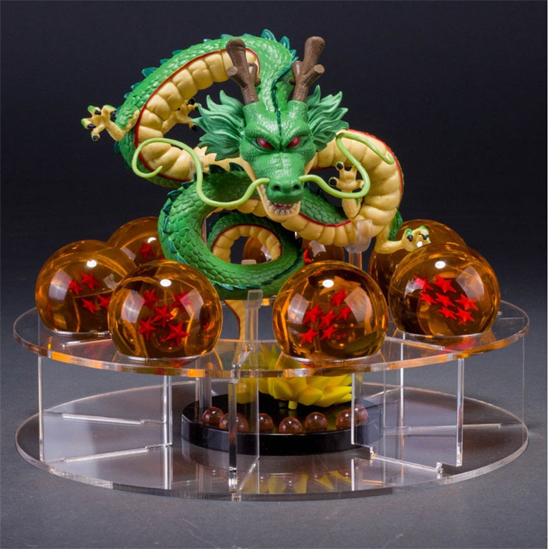 Dragon Ball Z Shenron PVC Action Figures Toys Golden Green Dragon 7pcs 3.5cm Dragonball Z Crystal Balls + Shelf Great Gift patrulla canina with shield brinquedos 6pcs set 6cm patrulha canina patrol puppy dog pvc action figures juguetes kids hot toys