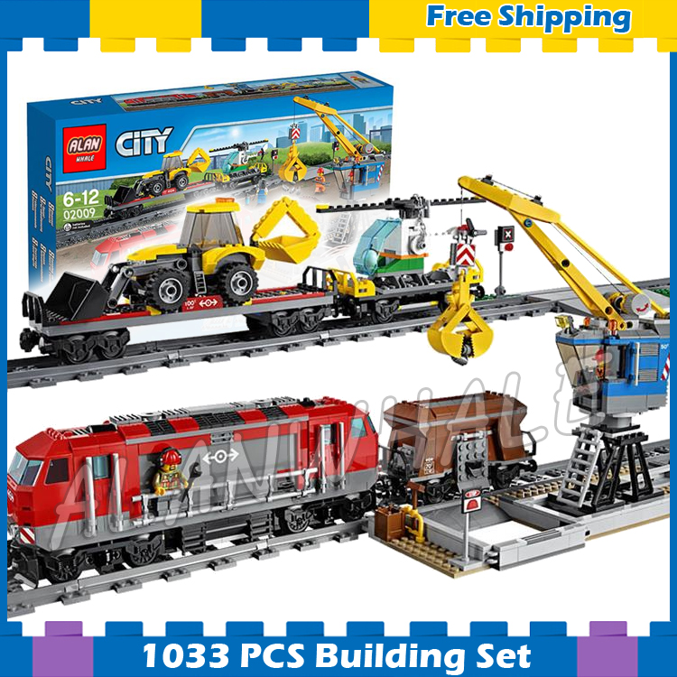 1033pcs City Motorized Remote Control Heavy haul Train 02009 Model Building Block Power Functions Gift sets Compatible With Lego lepin 02009 city engineering remote control rc train model