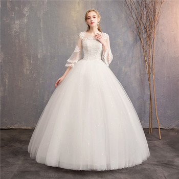2019 New Korean Bride Wedding Dress Half Flare Sleeves Simple White Ball Gown Wedding Dress With Sequins Appliques