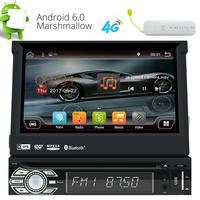 Simple Din Android 6.0 Quad Core 7 ''Écran Tactile Motorisé Détachable au Tableau de Bord Lecteur DVD GPS Radio WIFI Bluetooth + 4G Dongle