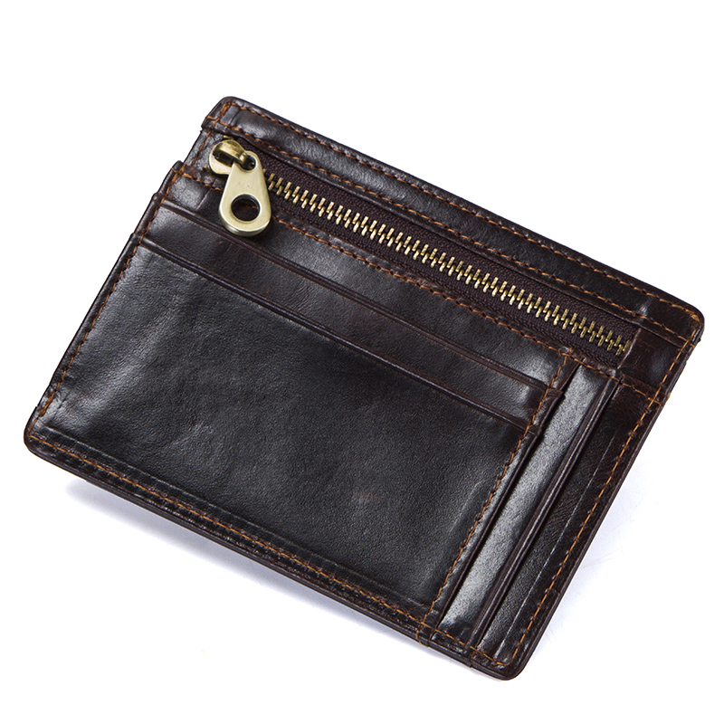 CONTACT'S crazy horse cowhide leather RFID men card wallet mini card holder with coin pocket men's small thin walet slim wallets 3