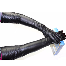 58 cm Extra Long straight style sheepskin gloves leather cashmere lining over the elbow armband sets free shipping