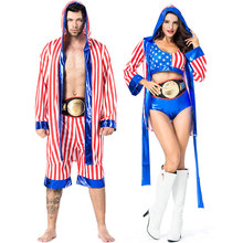 Umorden American Flag Boxer Costume for Men Adult Rocky Balboa Boxing Cosplay Halloween Party Carnival Costumes