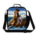 Personalizada Patrón de caballo Fresca bolsa de almuerzo para los niños de la escuela, white horse impresión térmica bolsas de almuerzo para los hombres trabajan, bolsas de frío