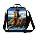 personalized Cool horse Pattern lunch bag for boys school,white horse printing thermal lunch box bags for men work,cooler bags