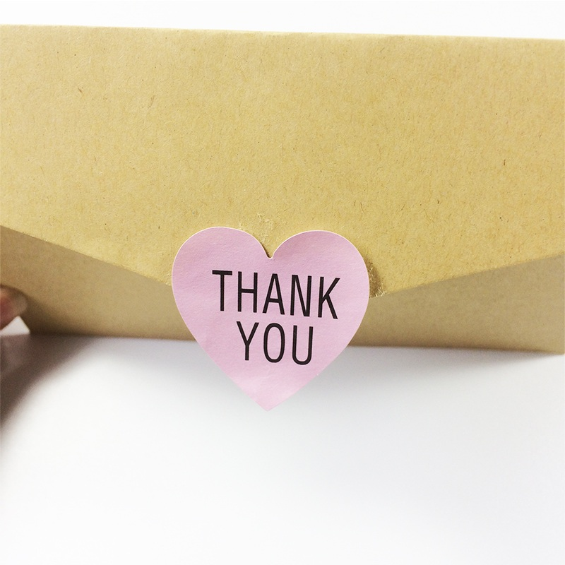 Купить с кэшбэком 100pcs/lot Thank you Romatic pink Heart Paper Sticker for Handmade Products package label